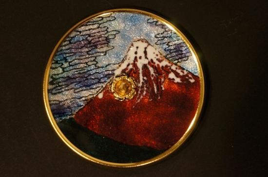七宝焼き燭台(赤富士)