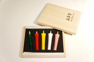 絵ろうそく 2匁5本入(五色ろうそく) 桐箱
